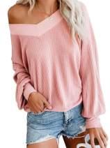 Vanbuy Women's V Neck Long Sleeve Shirt Waffle Knit Top Off Shoulder Oversized Pullover Sweater