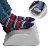 Ergonomic Foot Rest Under Desk Cushion 100% Memory Foam Pillow Non Slip Bottom Half Cylinder Padded for Leg Support for Home Office Airplane Plane Travel (Grey)