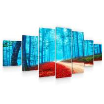 Startonight Large Canvas Wall Art Landscape - Red Road Through The Forest - Huge Framed Modern Set of 7 Panels 40 x 95 Inches