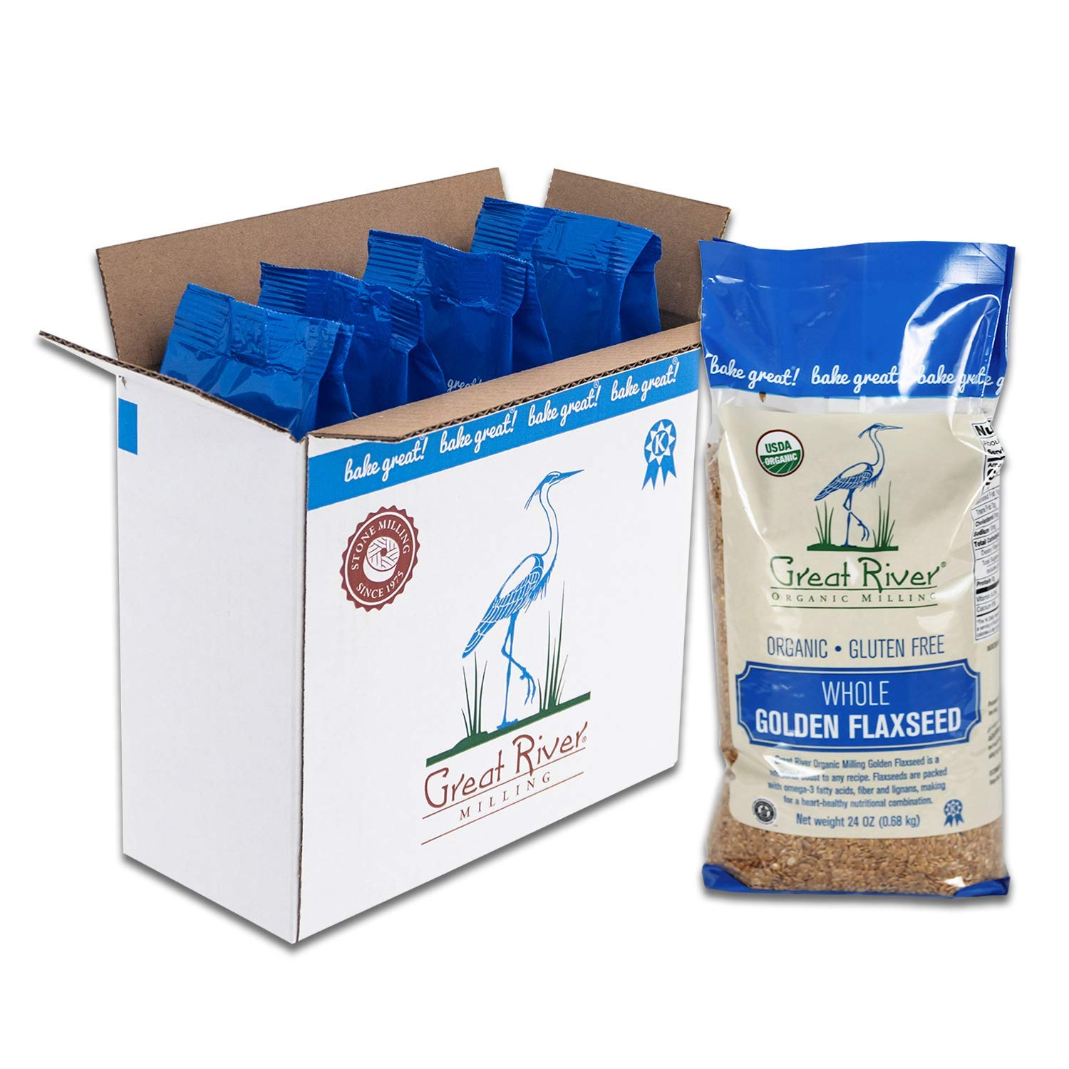Great River Organic Milling, Whole Grain, Golden Flaxseed, Organic, Gluten Free, 24 Ounces (Pack of 4)