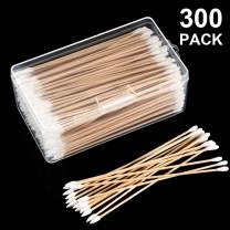 Norme 6 Inch Caliber Cotton Cleaning Swabs Round/Pointed Tip with Wooden Handle Cleaning Swabs for Jewelry Ceramics Electronics in Storage Case, 300 Pieces