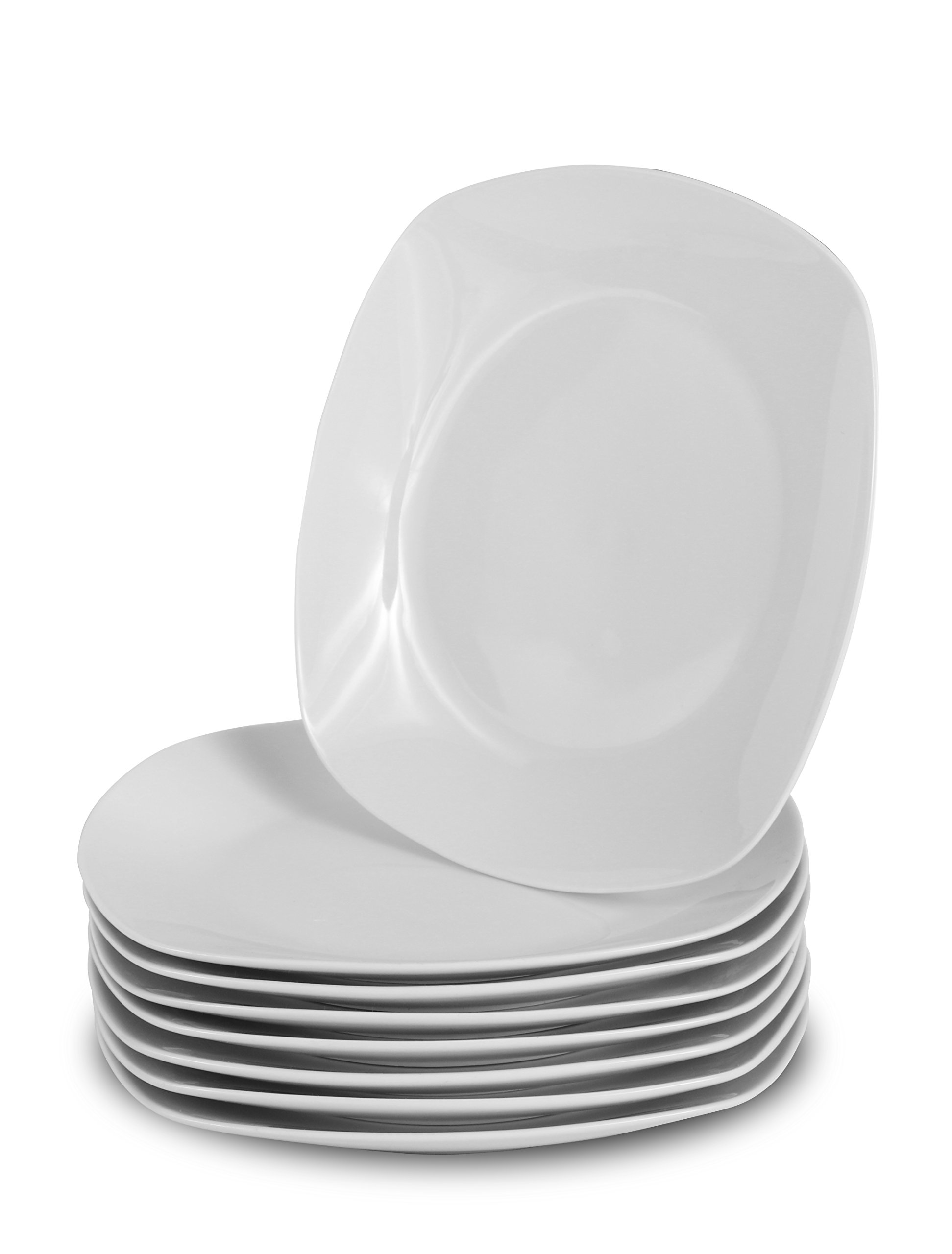 Klikel 8 White Salad Plates - Porcelain Square Dinnerware - 8.3 Inch Classic Solid Bread or Appetizer Coupe Style Plate Set