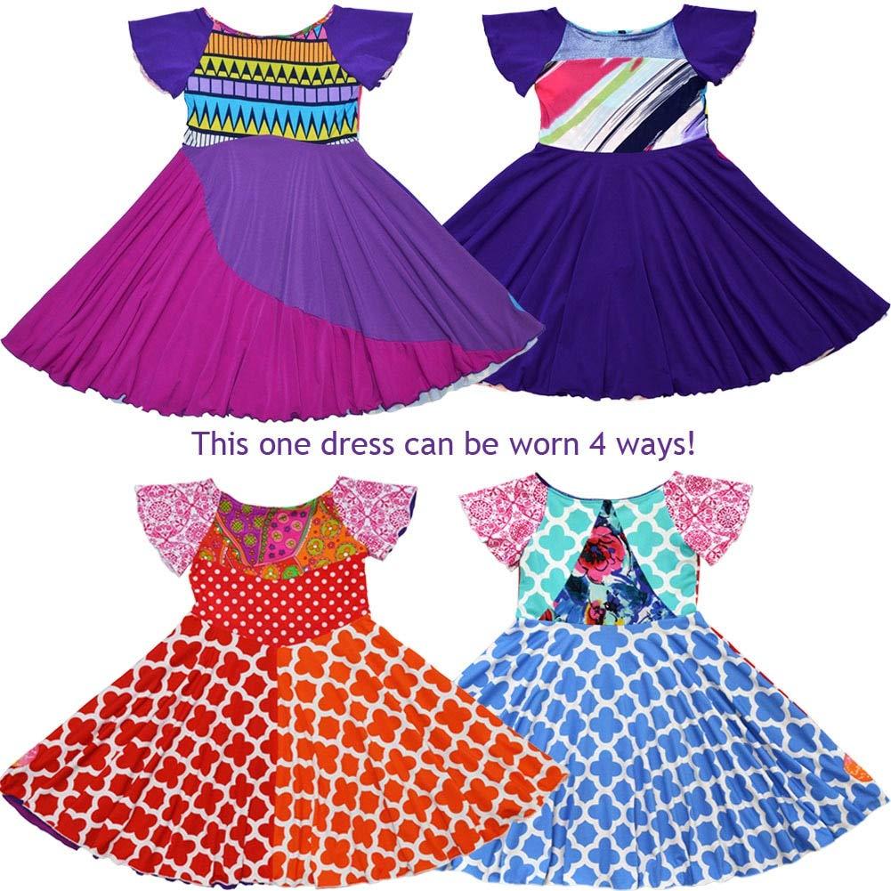 TwirlyGirl Reversible 4 Way Twirly Dress Purple Full Circle Unique Fun USA Made