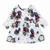 Uinolo Baby Girls Fall Dresses Rose Floral Long Sleeve Princess Dress