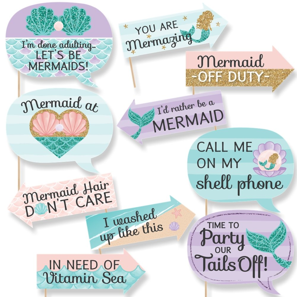 Mermaid Props Party Props Photography props Birthday Party Photo booth props Cute Mermaid Props Mermaid Red hair photo props