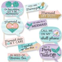 Big Dot of Happiness Funny Let's Be Mermaids - Baby Shower or Birthday Party Photo Booth Props Kit - 10 Piece