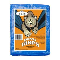B-Air Grizzly Tarps - Large Multi-Purpose, Waterproof, Heavy Duty Poly Tarp Cover - 5 Mil Thick (Blue - 15 x 15 Feet)