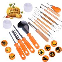TESECU Halloween Pumpkin Carving Kit for Kids, 13Pcs Professional Stainless Steel Heavy Duty Jack-O-Lanter Carving Tools Cutting Knife for Halloween Pumpkin Decoration, with 2 LED Candles