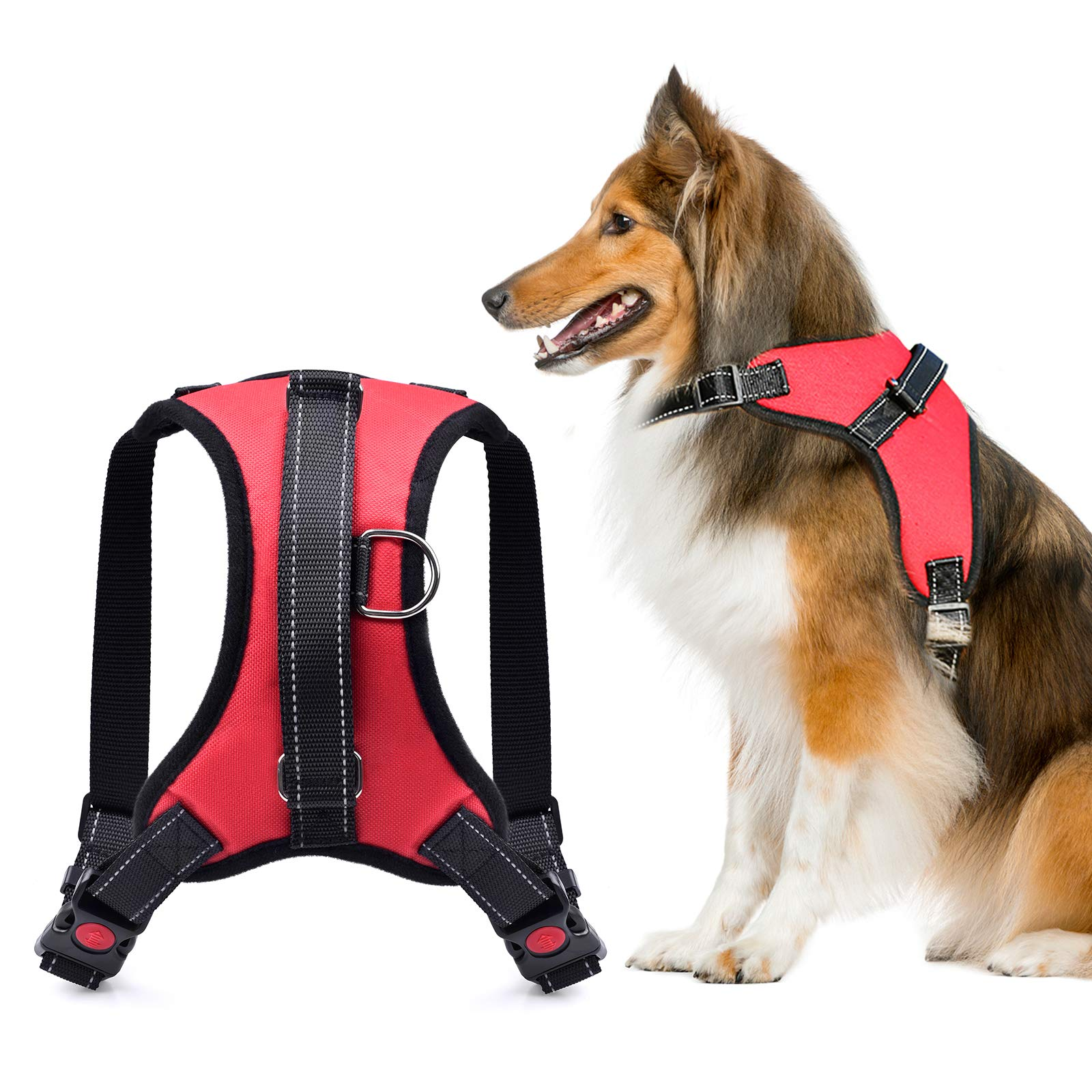 WEAVERBIRD No Pull Dog Harness, Adjustable Reflective Pet Vest Harness for Walking Training Running, Walking Pet Harness for Small/Middle /Large Dog, Red (S)