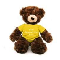 Plushland Chocolate Brandon Teddy Bear 12 Inch, Stuffed Animal Personalized Gift - Custom Text on - Great Present for Mothers Day, Valentine Day, Graduation Day, Birthday (Yellow Shirt)