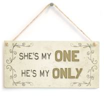 """Meijiafei She's My One He's My Only - Beautiful Home Accessory Gift Sign for Couples in Love 10""""x5"""""""