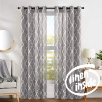 "jinchan Moroccan Tile Curtains Print for Living Room Curtain Lattice Flax Linen Blend Textured Grommet Quatrefoil Window Treatment Set for Bedroom Geometry 2 Panels 84"" L Charcoal Grey"