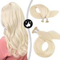 Moresoo I Tip Hair Extensions Human Hair 22 Inch Straight Keratin Tipped Hair Extensions Real Human Hair Color #60 Platinum Blonde Fusion Hair Extensions 100% Remy Hair 50S/40G 0.8g/s