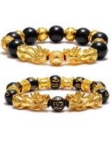 VALIJINA Feng Shui Pixiu Bracelets - Black Obsidian Hand Carved Mantra Bead Bracelet for Women Men Pi Yao Lucky Wealthy Amulet Brecelet Set