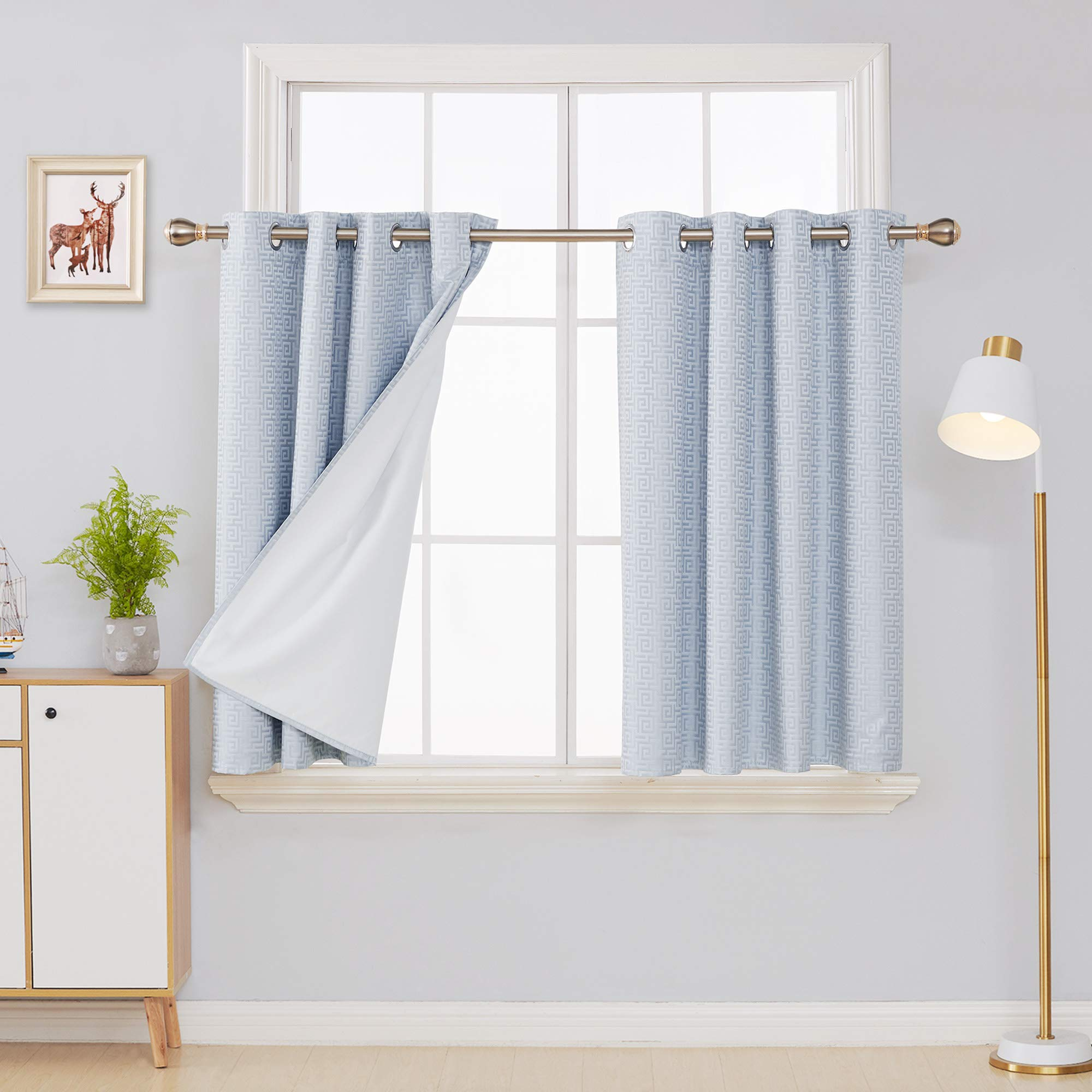 Deconovo Modern Artistic Maze Design Jacaquard Curtains with Thermal Lining Grommet Top Energy Saving Noise Reducing 100 Total Blackout Curtains for Kitchen 52x45 Inch 2 Panels Baby Blue