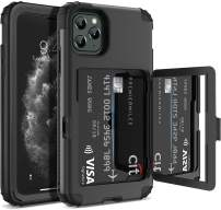 Defender Wallet Design with Hidden Back Mirror and Card Holder Heavy Duty Protection Shockproof 3 in 1 All-Round Armor Protective Case for iPhone 11 Pro (Black)