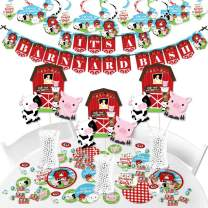 Big Dot of Happiness Farm Animals - Barnyard Baby Shower or Birthday Party Supplies - Banner Decoration Kit - Fundle Bundle