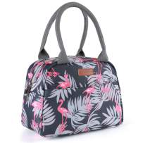 Amersun Lunch Bag for Women Sturdy Insulated Lunch Box Tote, Easy Cleaning Water-resistant Lunch Cooler Snacks Organizer with Pockets for Adults Work Beach Sport Picnic Office College - Flamingo