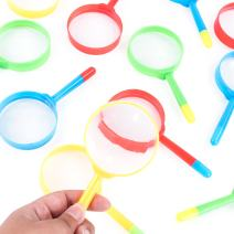 """Super Z Outlet Mini 5"""" Magnifying Glasses with Pens Tip Combo, Plastic Pocket Children Detective Explorer Note Taking Colorful Party Favors (12 Pack)"""