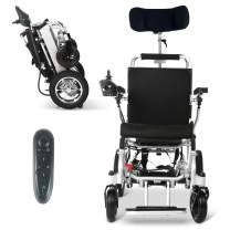 """2021 Long Range Lightweight Electric Wheelchair - Remote Control Electric Wheelchairs Lightweight Foldable Motorize Power Electrics Wheel Chair Mobility Aid with Headrest (17.5"""" Seat Width)"""
