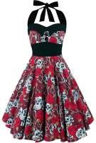 Halloween Dress for Women Skull Dress Pumpkin Skirt Vintage Floral Retro 50s Halter Cocktail Party Costumes A-Line Tea Dress