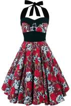 Halloween Dress for Women Skull Dress Pumpkin Skirt Vintage Floral Retro 50s Halter Cocktail Party Costumes A-Line Tea Dress (X-Large, A- Skull Black)