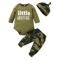 Newborn Boy Girl Clothes Little Brother Sister Letter Print Romper+Camo Pants 3Pcs Infant Boy Clothing Set