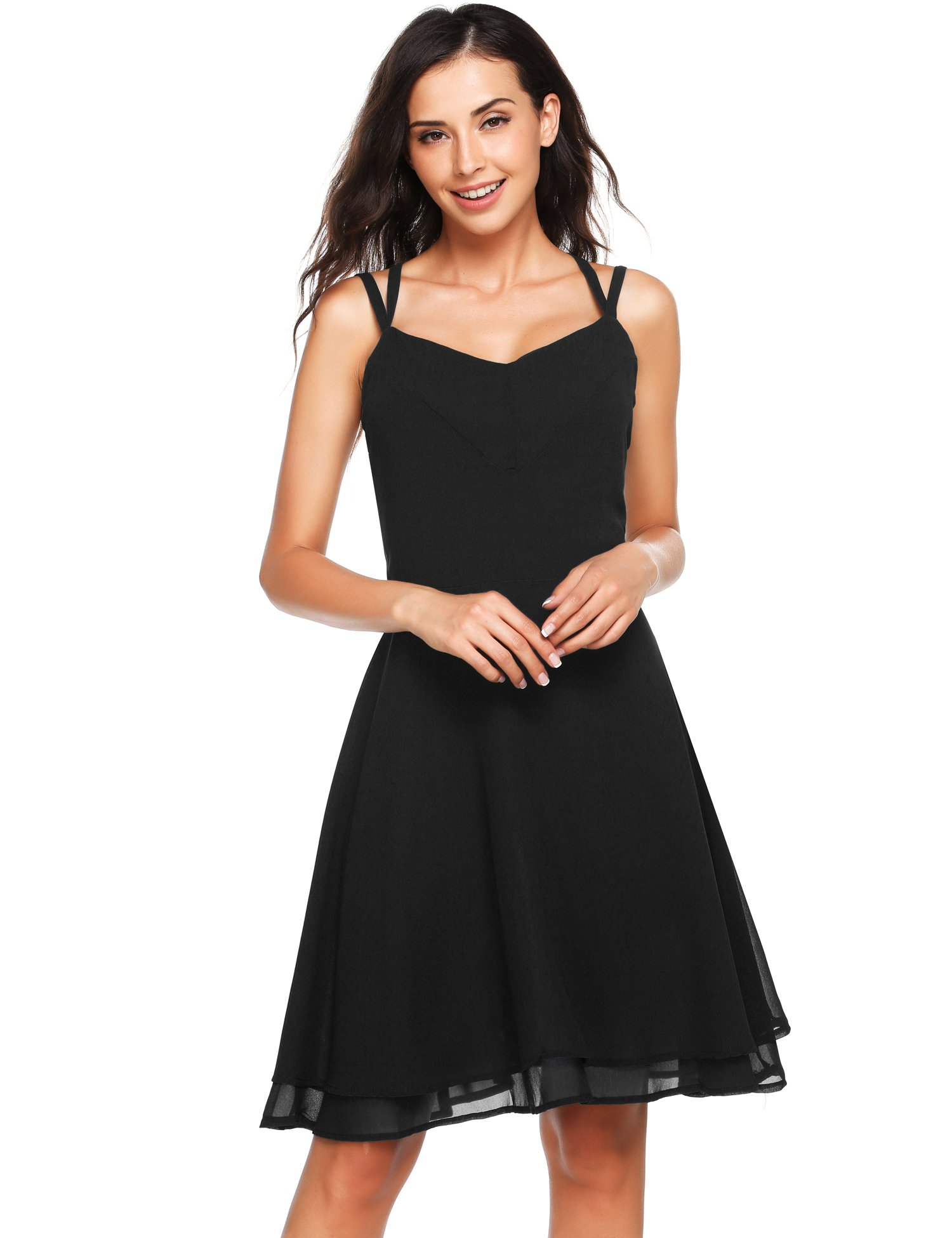 Zeagoo Women's Sexy Sleeveless Spaghetti Strap Backless Swing A-line Cocktail Party Dress