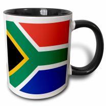 3dRose 158432_4 Flag of South Africa Mug, 11 oz, Black