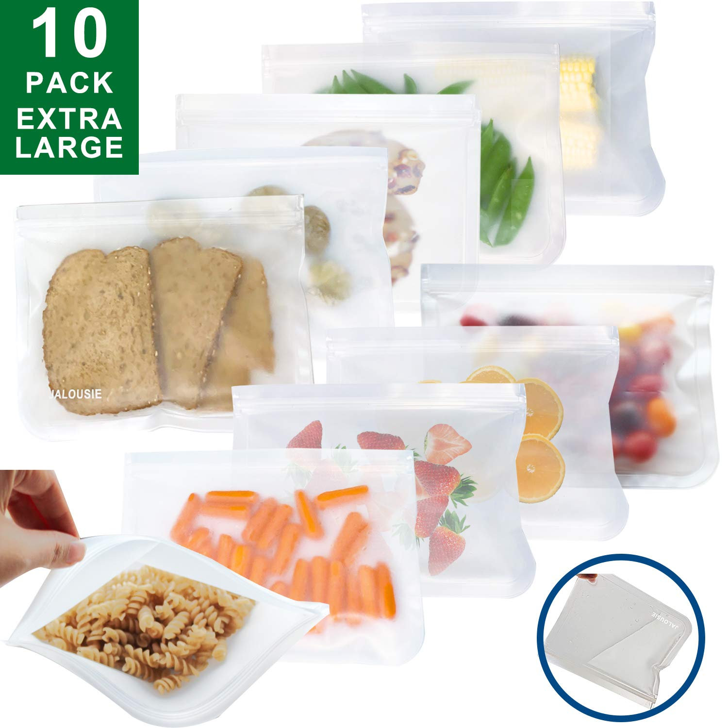 JALOUSIE 10 PACK (10 inch X 8 inch XL) BPA-free PEVA Food Grade Reusable Storage Bags (10 Pack) Extra Thick Zipper Bag for Snacks, sandwiches, stationery, clear toiletry zip bag (10 Pack Extra Large)