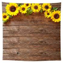 Allenjoy 8x8ft Durable Polyester Sunflower Brown Wood Texture Backdrop for Photography Rustic Child Baby Shower Birthday Party Graduation Season Background Banner Picture Photo Studio Booth Decoration