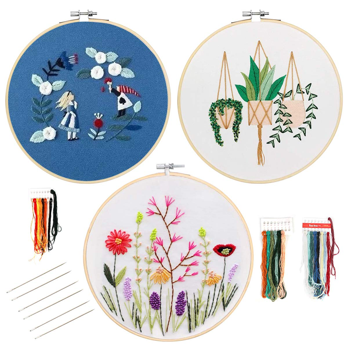 Heflashor 3 Packs Flower Embroidery Kits Embroidery Starter Kit Embroidery Set Including Embroidery Cloth with Pattern, Embroidery Hoop, Color Threads and Tools Kit