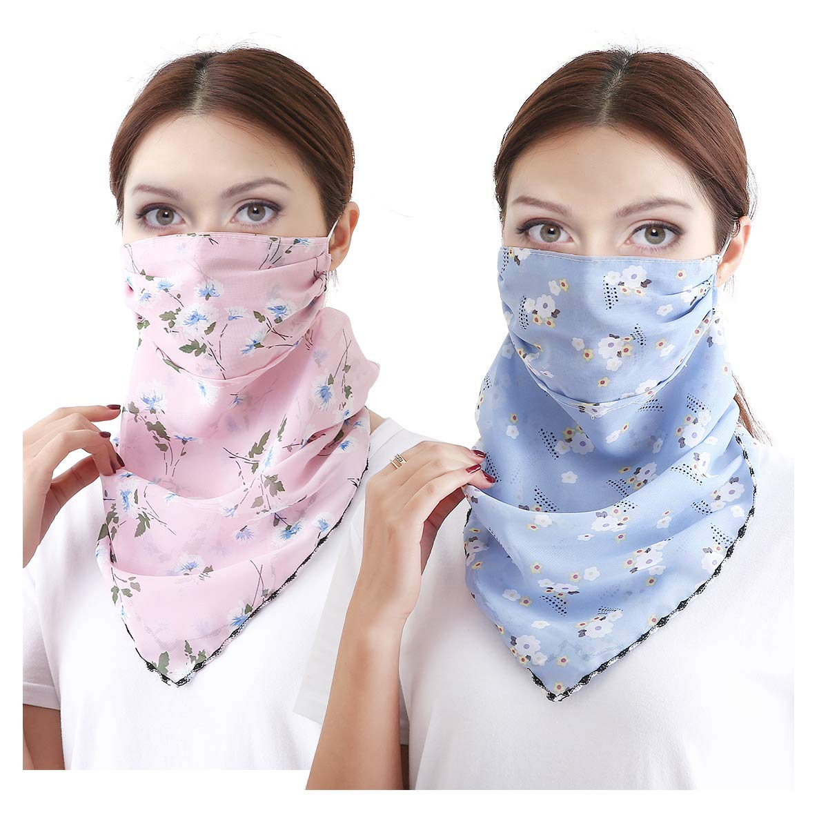 2 or 4 6 Pack Women Sun Mask Face Scarf Chiffon Wrap Dust Shield Neck Gaiter UV Protection