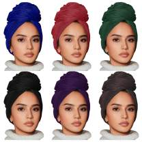 6 Pieces Stretch Head Wrap Headband Hair ScarfJersey Turban Knit Headwraps Urban Hair Wrap Solid Color Ultra Soft Extra Long Breathable Head Band Tie for Women