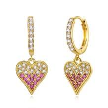 GORSKOY Butterfly Spike Huggie Hoop Earrings, Lock Key Heart Charm Hoop Earrings for Women, Sensitive Ears Gold Hoop Earrings, Crown Moon Flower Drop Earrings
