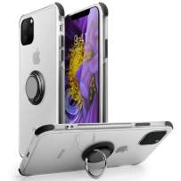 iPhone 11 Case,WATACHE Slim Thin Clear Crystal Soft TPU Protective Case [Magnetic Car Mount] with Finger Ring Stand for iPhone 11,Black