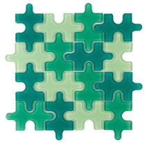 MTO0047 Contemporary Puzzle Pieces Green Glossy Glass Mosaic Tile