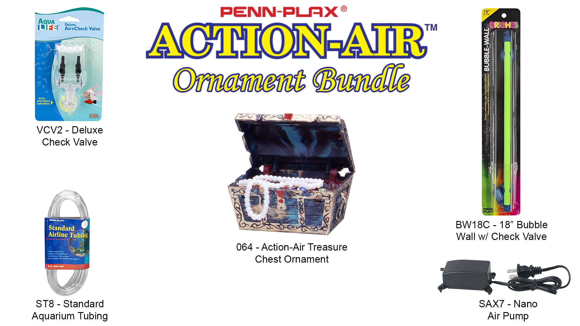 Penn Plax Action-Air Ornament Bundle Gift Set - Comes with Air Pump, Tubing, Bubble Wall, Gang Valve, and Action Ornament for Your Aquarium