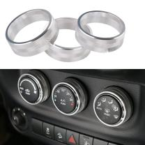 3 x Aluminum Alloy Interior Audio Air Conditoning Button Cover Decoration Twist Switch Ring Trim for 2011-2018 Jeep Wrangler JK JKU Patriot, 2008-2014 dodge ram challenger