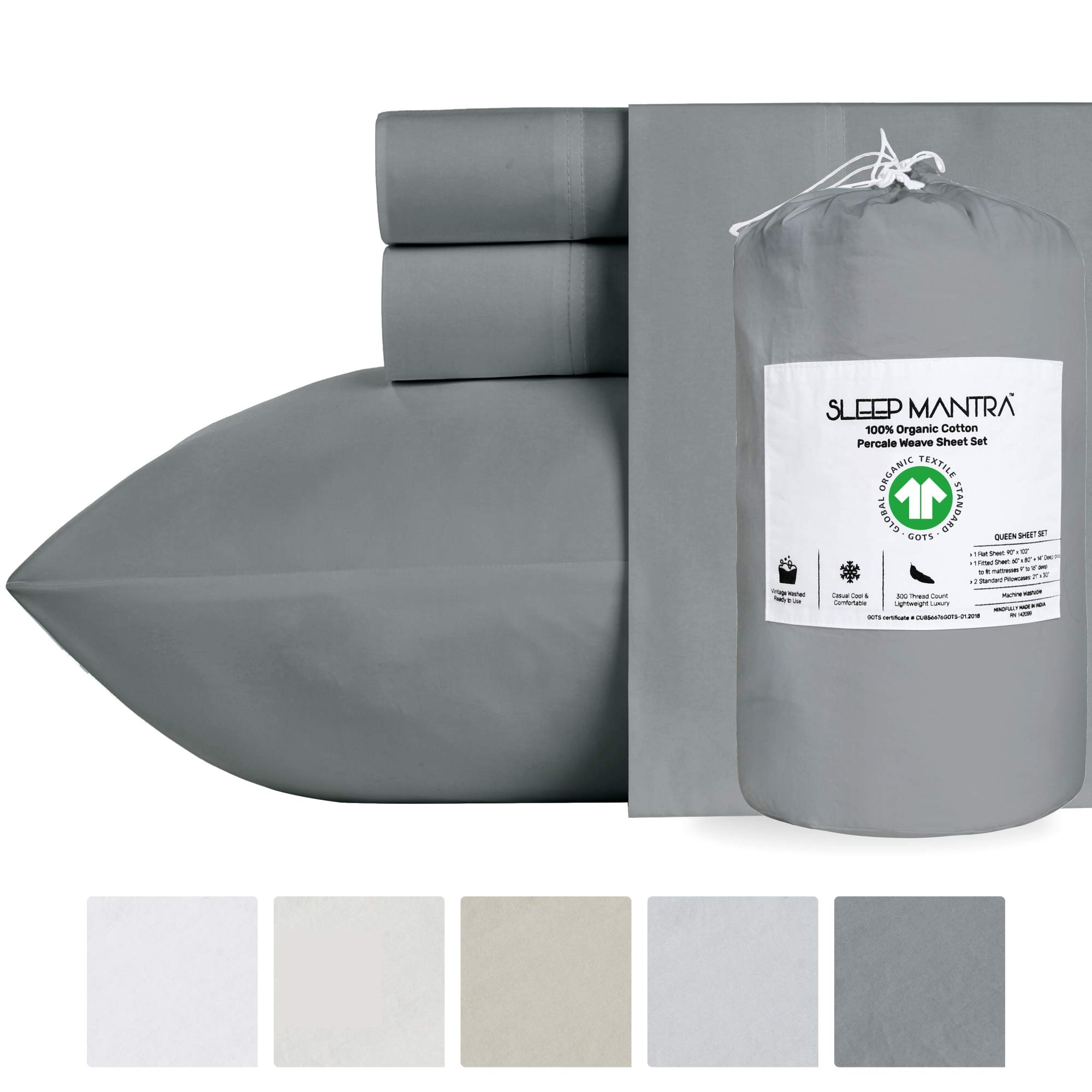 California-King Sheet Set Dark Grey - 100% Organic GOTS Certified Natural Cotton Sheets 4-Piece Bedding, Cool Crisp Percale Weave Eco-Friendly Bed Sheets with 14 Inch Deep Pockets