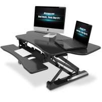 """Standing Desk with Height Adjustable – Komene Stand Up Black Desk Converter, 36"""" Black Ergonomic Desktop Workstation Riser fits Dual Monitors (K-47 inch)"""