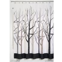 """iDesign Forest Fabric Shower Curtain for Master, Guest, Kids', College Dorm Bathroom, 72"""" x 84"""", Black and Gray"""