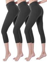 VALANDY Ultra Soft High Waisted Yoga Capri Leggings for Women Opaque Stretch Tummy Control Pants One Size & Plus Size