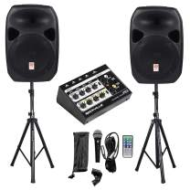 """Rockville Power GIG RPG-122K All In One DJ/PA Package (2) 12"""" DJ/PA Speakers 1000 Watts Peak Power/250 Watts RMS with Built in Bluetooth, USB/SD Player, FM Tuner, Speaker Stands and a Wired Microphone"""