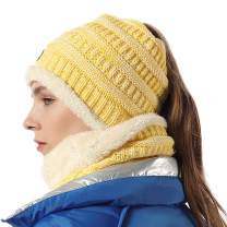 Beanie Tail Infinity Scarf Set Knit Hat Messy High Bun Ponytail Cap Scarves Women Yellow Mix