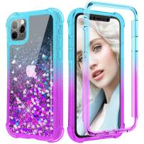 Maxdara Glitter Case for iPhone 11 Pro Max Case, Full-Body Case with Built-in Screen Protector Rugged Shockproof Sparkly BlingLiquid Case for iPhone 11 Pro Max 6.5 inches (Teal&Purple)