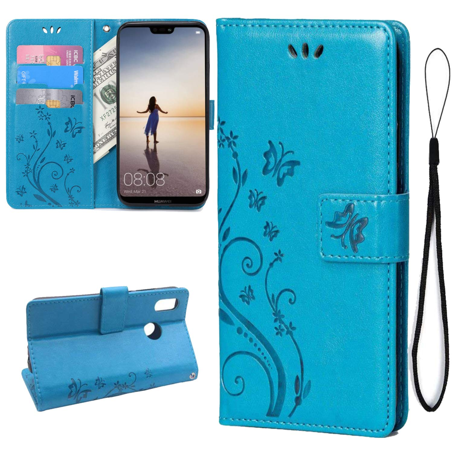 Teebo Wallet Case for Huawei P20 Lite, PU Leather Stand Function with Magnetic Closure [Butterfly Flower] Card Slots Holder Pocket Flip Cover for Huawei P20 Lite(Blue)