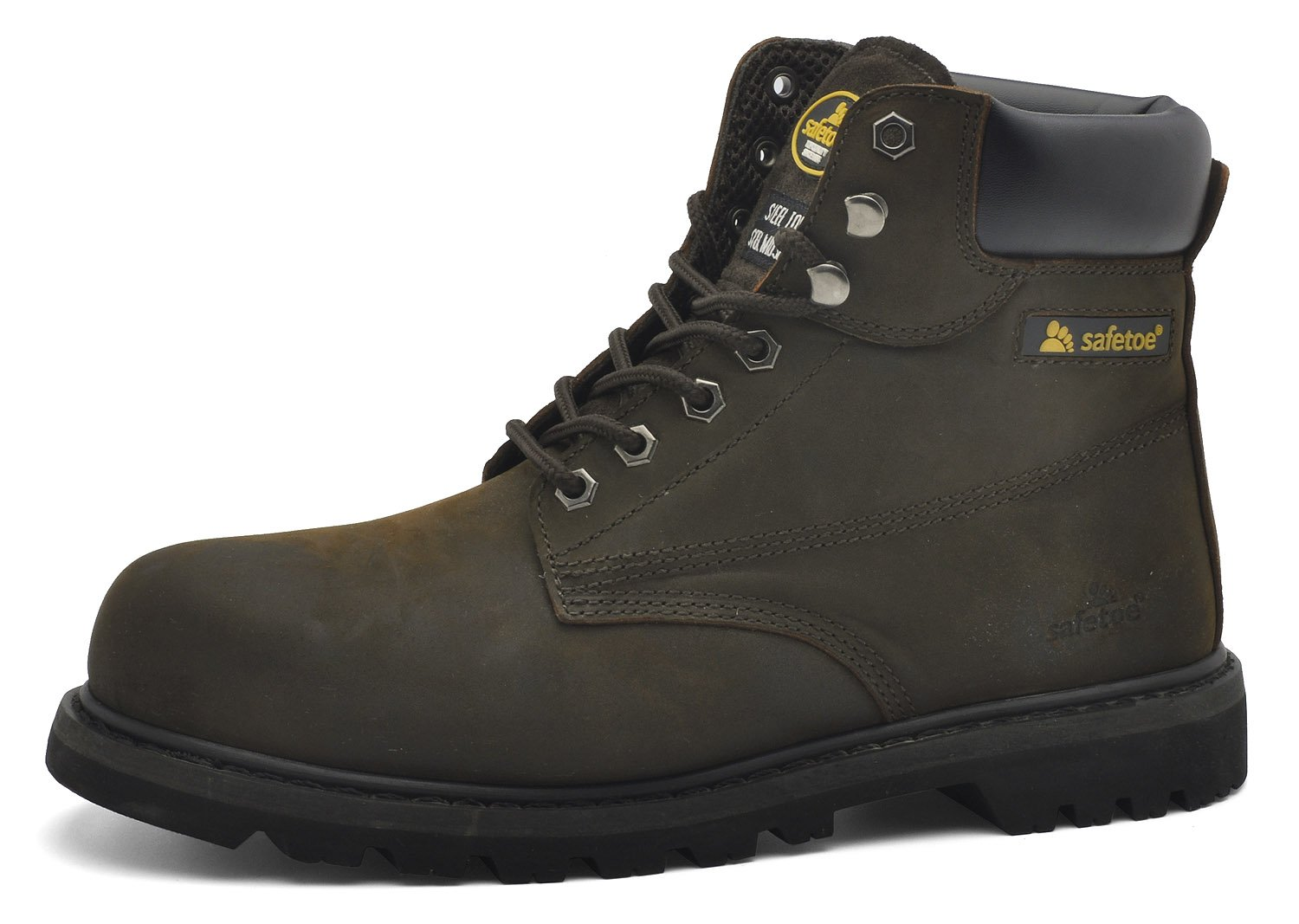 Mens Steel Toe Cap Leather Safety Ankle Lightweight Waterproof Work Boots Shoes