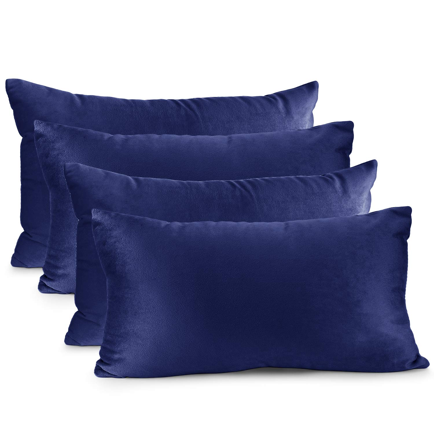 Nestl Bedding Throw Pillow Cover 12 X 20 Soft Square Decorative Throw Pillow Covers Cozy Velvet Cushion Case For Sofa Couch Bedroom Set Of 4 Royal Blue