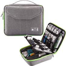 Updated Electronics Organizer 2 Layers Travel Cord Bag Padded Cable Storage Gadget Gear Fits 11 Inch Tablet(Large,Grey/Green)